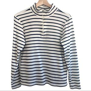 LL Bean Quarter Zip Striped Pullover 100% cotton